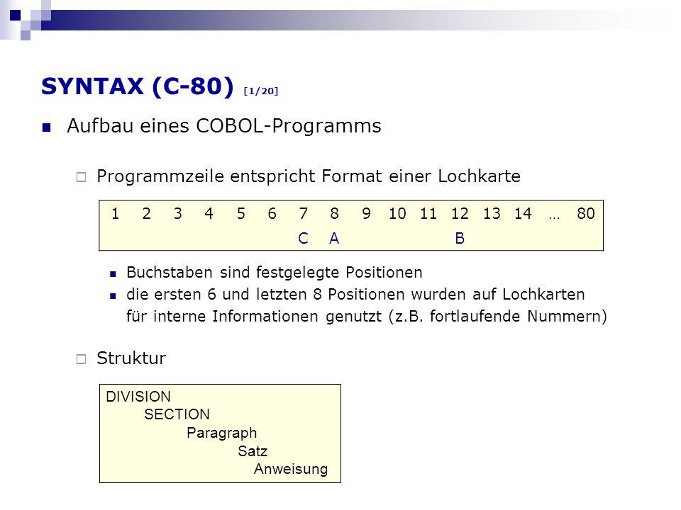 SYNTAX (C-80) [1/20] Aufbau eines COBOL-Programms